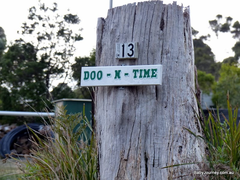 One of the signs in Doo Town