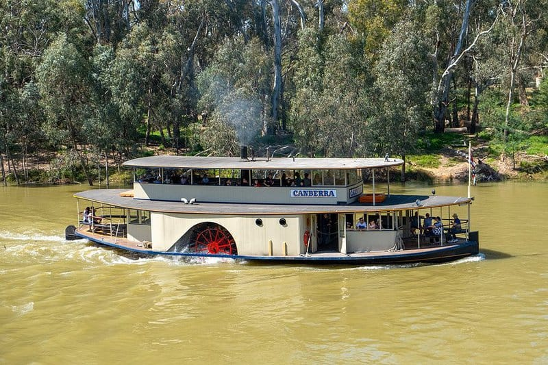 Historic paddle steamer Canberra on Murray River, Echuca, Victoria