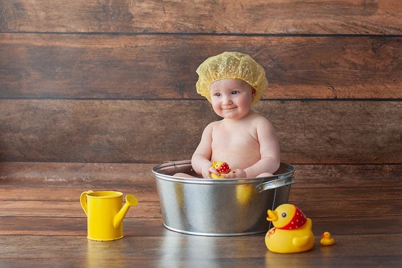 baby takes a bath